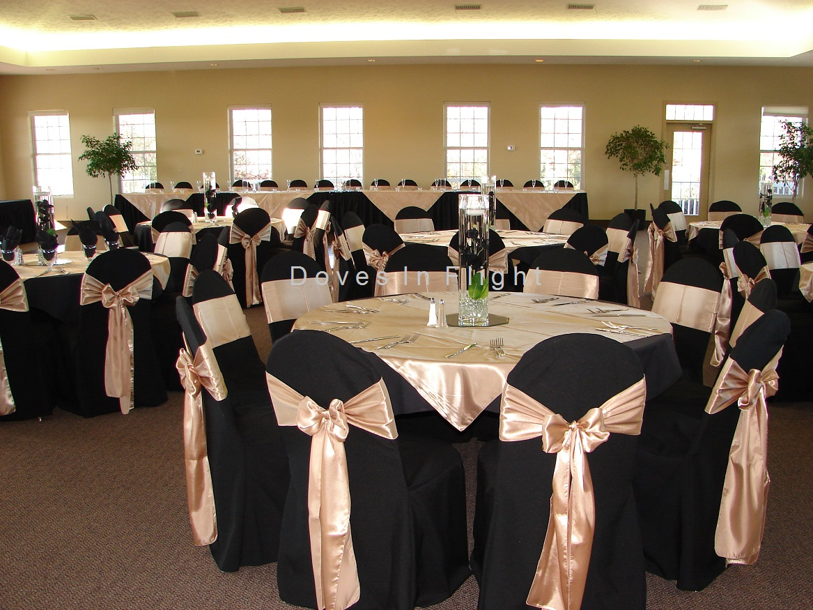 Black chair covers for weddings - Lakeview Banquet Laingsburg Champagne Black