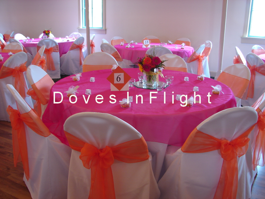 Orange Organza Sashes With Hot Pink Overlay