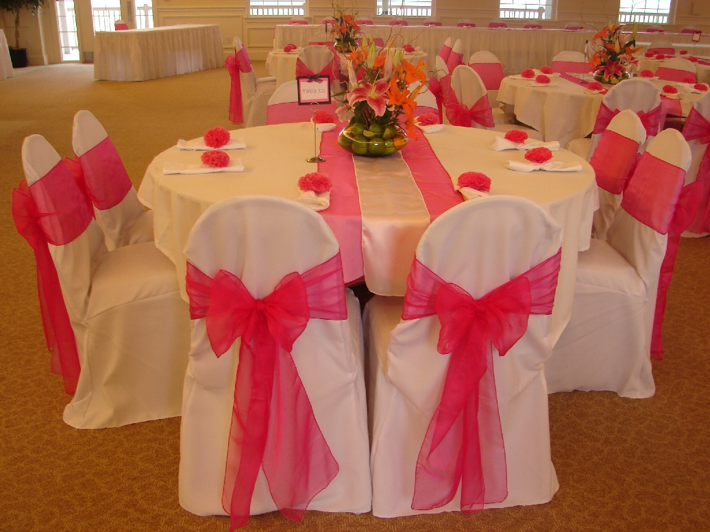 Hot Pink Overlay With Silver Satin. Guest Registration Table Embroidered  Overlay